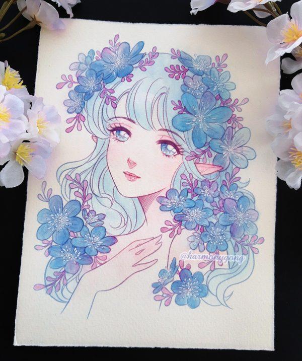 blue flower elf original art harmony gong