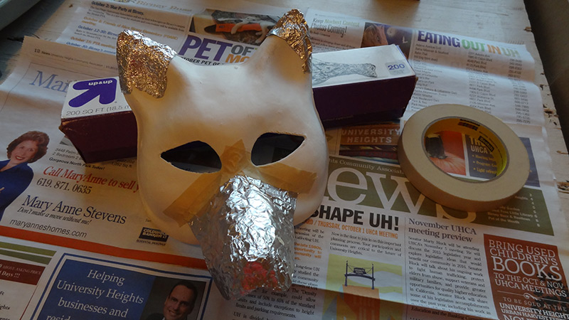 paper mache foil sculpting wolf mask