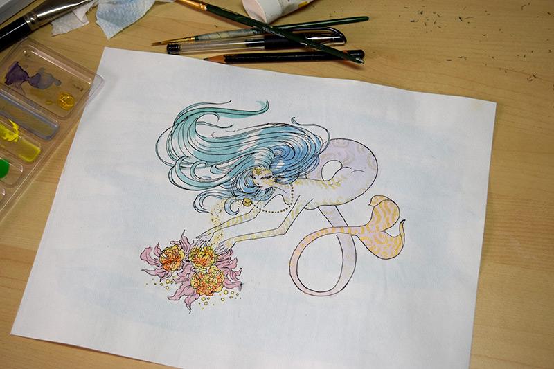 Mermaid Sketch - Harmony Gong
