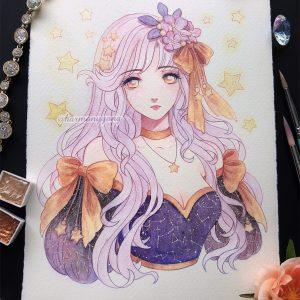 starry night prom girl original art harmony gong
